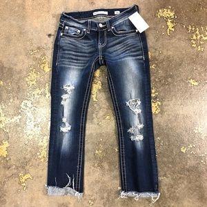 BKE Stella Ankle Jeans 25 Dark Wash Distressed